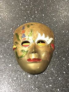 Vintage Small Brass Decorative Wall Hanging Theatrical Masquerade Mask, Retro,