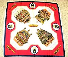 """VINTAGE INCRES VICTORIA LINE SHIPS SILK SCARF 1958-75 Large Size 34 1/2"""" x 34"""""""