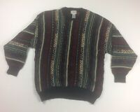 Vintage Alfani Coogi Style Mens Large Sweater Multicolor 90s Biggie Bill Cosby