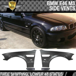 Fits 98-01 E46 3 Series M3 Style Metal Fenders + Chrome Side Vent