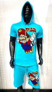 New Mens Laverita Slim Fit Turquoise Short Sleeve Hoodie Shorts Set To The Moon