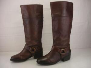Lucky Brand Women's 9 M Abeni Brown Leather Knee High Riding Boots Harness Strap