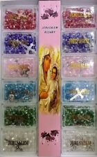 12 Jerusalem Holy Land Crystal beads rosary with metal cross and holy soil