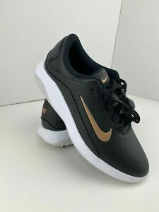 Nike Vapor Fitsole Golf Shoes Womens Size 6.5 Black White Gold AQ2324-001