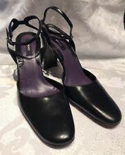 DKNY WOMENS SHOES Black Leather Sling Back Pumps Size 10 Black Label
