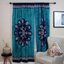 Handmade Cotton Multi Batik Floral Mandala Block Print Curtain Drape Green 47x85