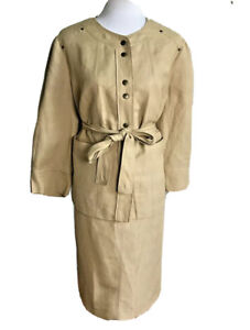 KASPER Women Beautiful 2 PC Linen Blend Beige Skirt Suit Size 16 W