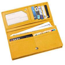 Women RFID Blocking Wallet Long Bifold Security Credit Card Holder Travel Yellow