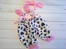 bubble romper baby girl outfit photo set baby pink cow bow knot headband 3-6m