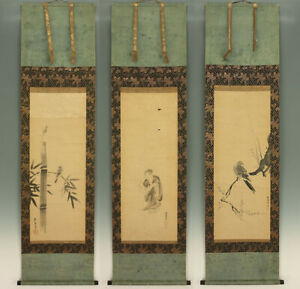 "掛軸1967 JAPANESE SCROLLS : TANYU,NAONOBU,YASUNOBU ""Figure and Bird"" w/box  @m567"
