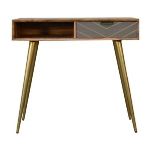 Modern Industrial Style Solid Wood Cement & Brass Finish Desk