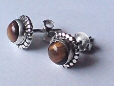 STERLING SILVER SMALL 8mm. EARRINGS with TIGERS EYE CABOCHON STONES £10.50 NWT