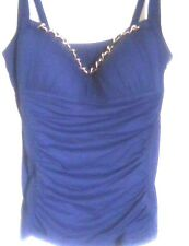 NWT Bleu Rod Beattie Blue, Ruched  Tankini Swim ,  Chane decorated  Size 8