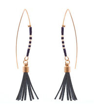 Fish Hook Earring Seed Beads Leather Tassels Fish Hook Earrings Navy