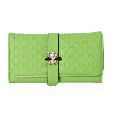 Green Honeycomb Pattern Fashion Wallet Clutch Bag with Magnetic Snap Closure
