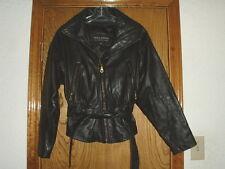 Women's Wilsons Black Leather Jacket w/Belt Small