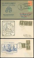 1935-39 LOT/3 USS MONTGOMERY Navy Covers, Decomm & Recommissioned, 1st Day CxL!