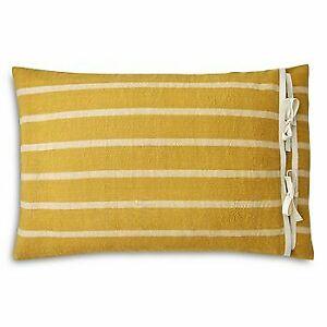 """Ralph Lauren Morrene Stripe 16"""" x 24"""" Cotton Linen Decorative Pillow - Yellow"""