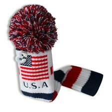 New listing Us Flag Blue Red White Knit Pom Pom Golf Fairway Wood #3 Head Cover Headcover