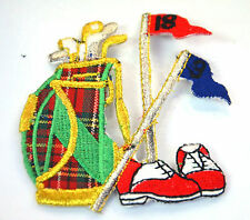 GOLF CLUBS BAG SHOES FLAG   Embroidered Iron Sew On Cloth Patch Badge  APPLIQUE