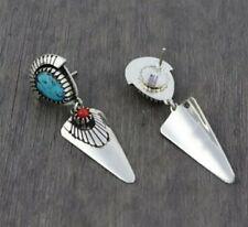 Native american turquoise &  silver beaded dangle earrings
