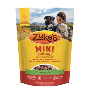 Zuke's Mini Natural Healthy Moist Delicious Duck Recipe Dog Training Treats 6 oz