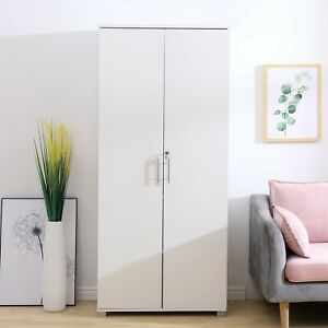 Tall White 180cm Office Storage Cupboard Locking Bookcase Filing Cabinet