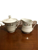 Arlen fine china. Bridal Rose. Made in Japan. sugar bowl with lid and creamer.
