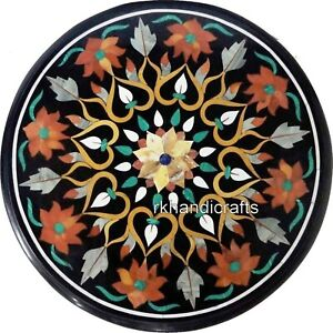 18 Inches Round Patio Table Top Luxurious Look Black Marble Office Coffee Table