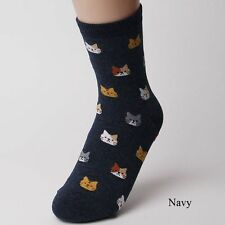 1 Pair Gifts Multi-colors Cotton Cute Animal Pattern Lovely Cat Socks Cartoon Navy