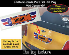 Custom Number License Plate Decals fits Rollplay Mini Cooper 6V Union Jack UK