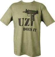Military Printed UZI DOES IT GUN T Shirt Olive Green