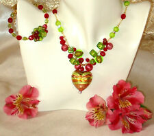 REAL Italian Made, Murano Glass Necklace with Free Bracelet Berry Caviar Heart