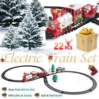 Christmas Electric ClassicTrain Set Railway Lights & Sounds Xmas Train Gift Kids