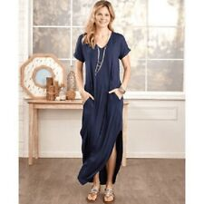 Stilletto's Women's Plus Every Day Maxi Dress w/Pockets V Neck XL Navy Blue 54""