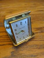 VINTAGE PHINNEY WALKER ALARM TRAVEL CLOCK - GERMANY FOLDING CASE BROWN WINDUP #2