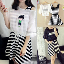 2X Hot Women Casual Empire Waist A Line Slim Striped Tunic Dress + Chiffon Top