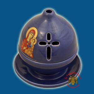 Orthodox Ceramic Theomitor Panagia Oil Candle Vigil Lamp 5 Colours Ikonenampel