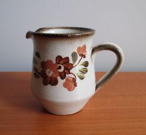 "Denby Serenade Creamer 3 3/8"" Brown Flower Hand Painted Stoneware England"