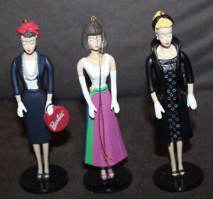 THREE! Boxed ASHTON DRAKE Classic Barbie Christmas Ornaments lot r