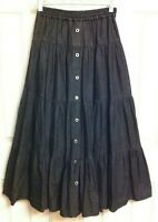RARE - CAROLE LITTLE SPORT - MAXI PRAIRIE SKIRT - TIERED Black Cotton DENIM Sz 4
