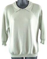 Brooks Brothers Sz M Light Green Silk Blend Knit Top Collar ¾ Sleeves