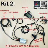 Ebike KT Controller Kit 24V/36V 250W +LCD8H+108X throttle+KT-V12L+Brake+ extend