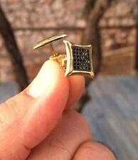 Men's 0.5 ct. Onix Diamond 14K Gold Finish Screw Back Stud Earrings