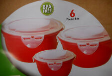 6 Piece Red Kitchen Storage Containers Set Plastic With Lids BPA FREE B2