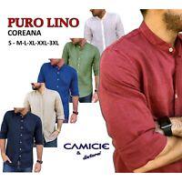 CAMICIA 100% PURO LINO COREANA TG. S M L XL XXL 3XL Slim Uomo Manica Lunga