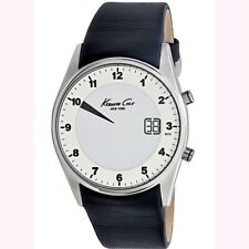 Kenneth Cole Men's Digital KC1724 Black Leather Strap Silver Number Dial Watch