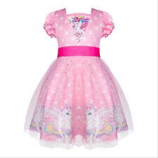 New Girls Frozen/Unicorn Puff Sleeve Dress Kids Party Holiday Birthday Princess
