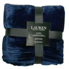 "Lauren Ralph Lauren Classic MicroMink Navy fleece King Blanket 108"" x 90"""
