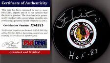 "PSA/DNA STAN MIKITA #21 ""HOF 83"" AUTOGRAPHED-SIGNED CHICAGO BLACKHAWKS PUCK 4585"
